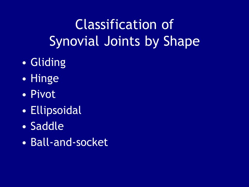 Classification of Synovial Joints by Shape