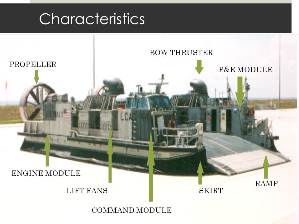 Characteristics RAMP SKIRT COMMAND MODULE LIFT FANS P&E MODULE