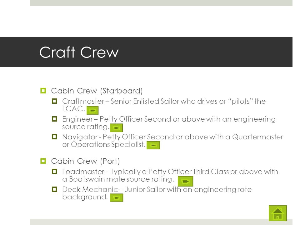 Craft Crew Cabin Crew (Starboard) Cabin Crew (Port)
