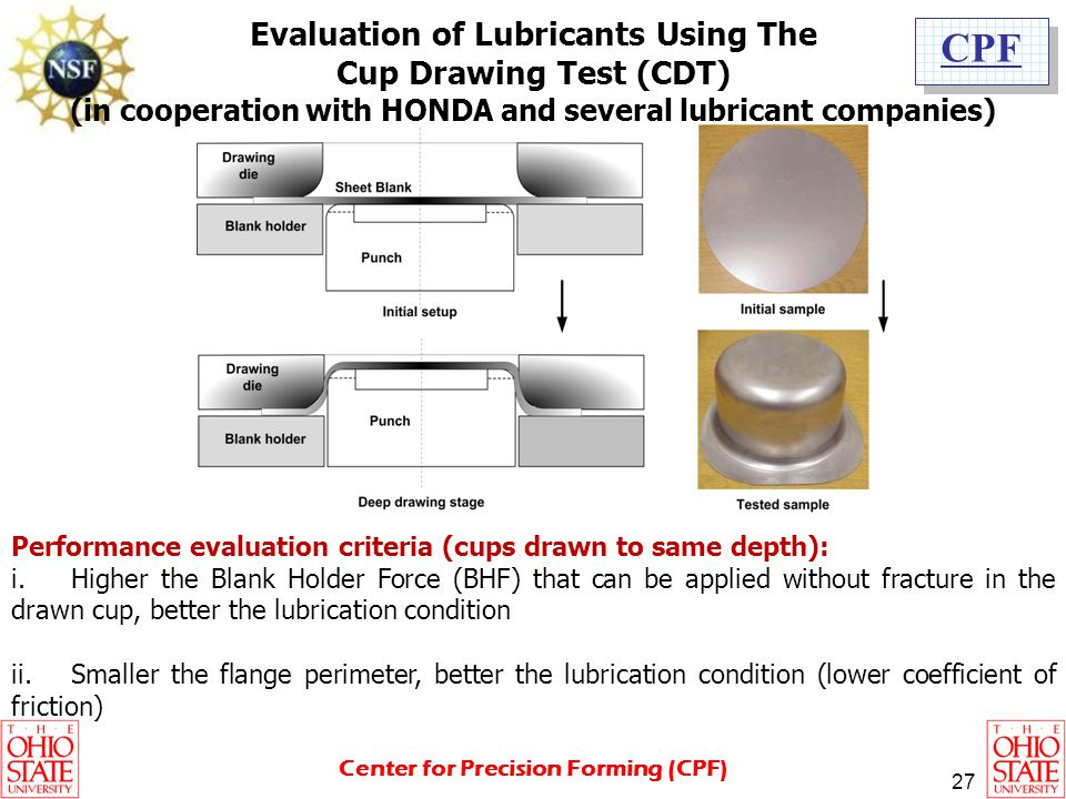 Evaluation of Lubricants Using The Cup Drawing Test (CDT)