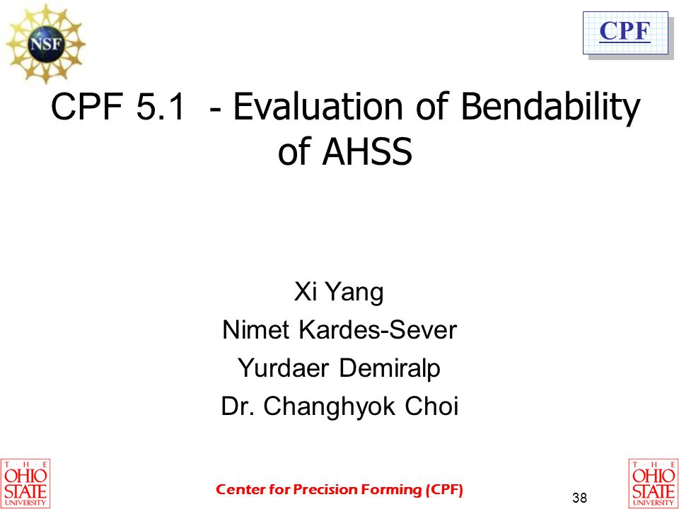 CPF 5.1 - Evaluation of Bendability of AHSS