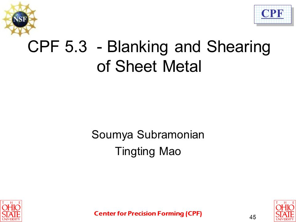 CPF 5.3 - Blanking and Shearing of Sheet Metal