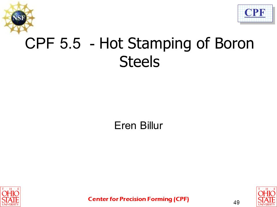 CPF 5.5 - Hot Stamping of Boron Steels