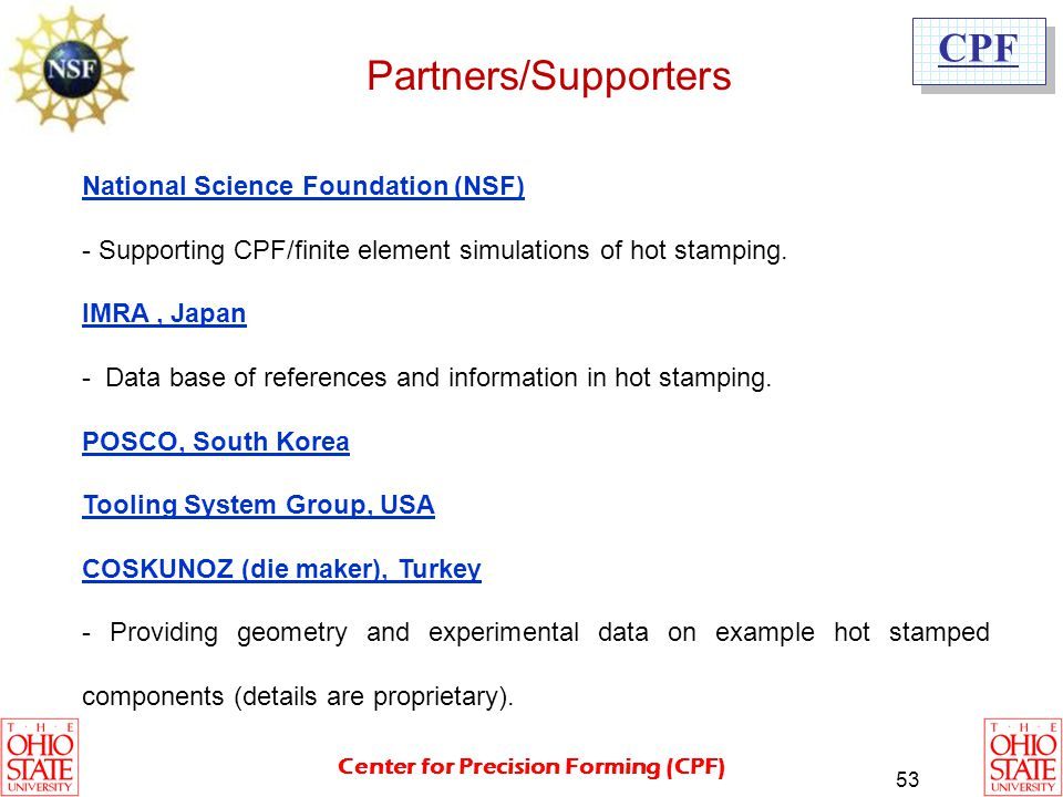 Partners/Supporters National Science Foundation (NSF)