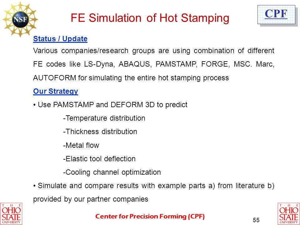 FE Simulation of Hot Stamping