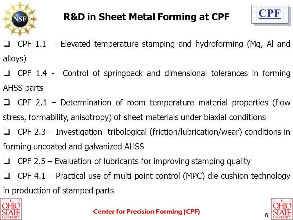 R&D in Sheet Metal Forming at CPF