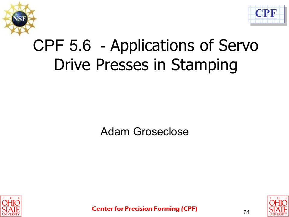 CPF 5.6 - Applications of Servo Drive Presses in Stamping