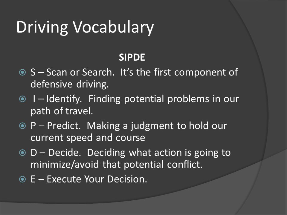 Driving Vocabulary SIPDE