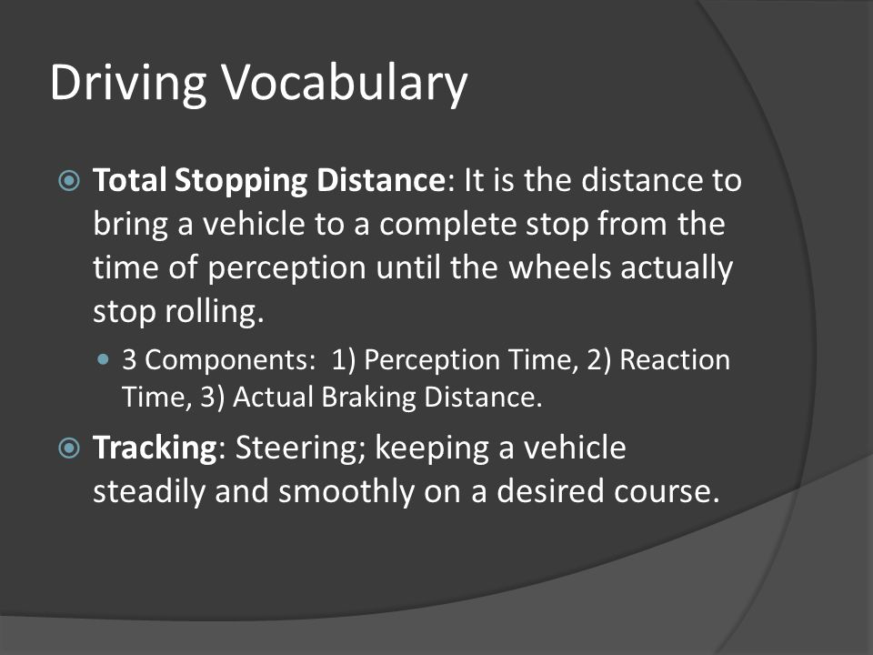 Driving Vocabulary
