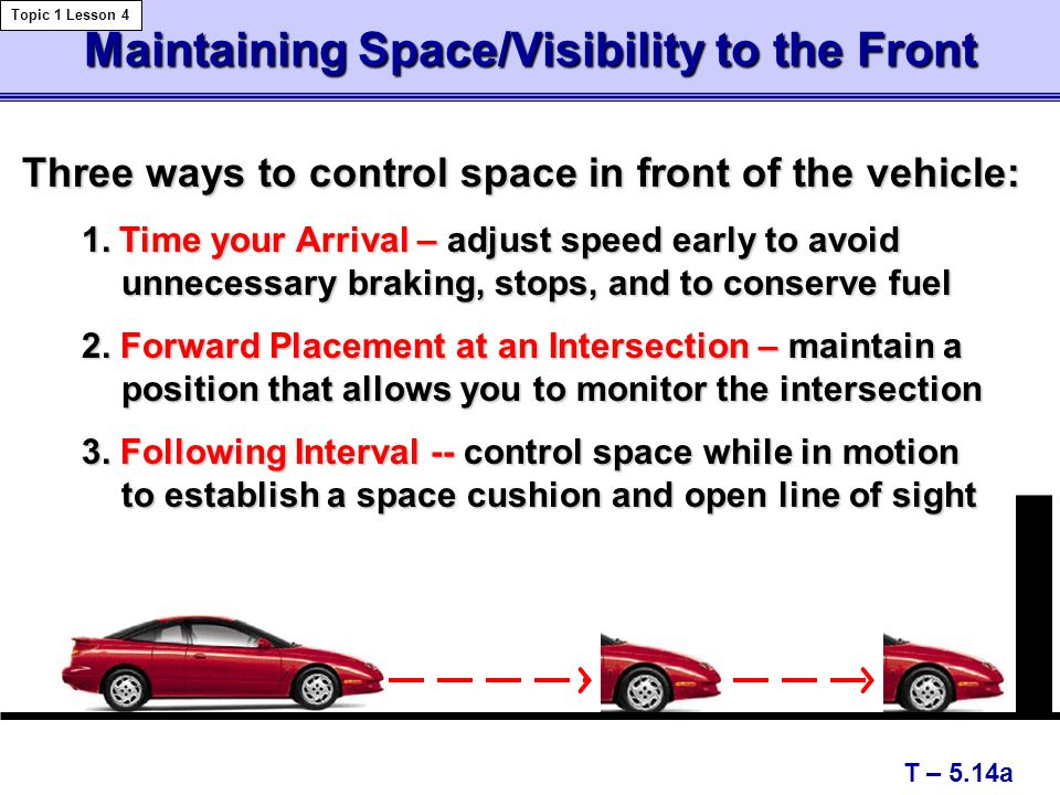 Maintaining Space/Visibility to the Front