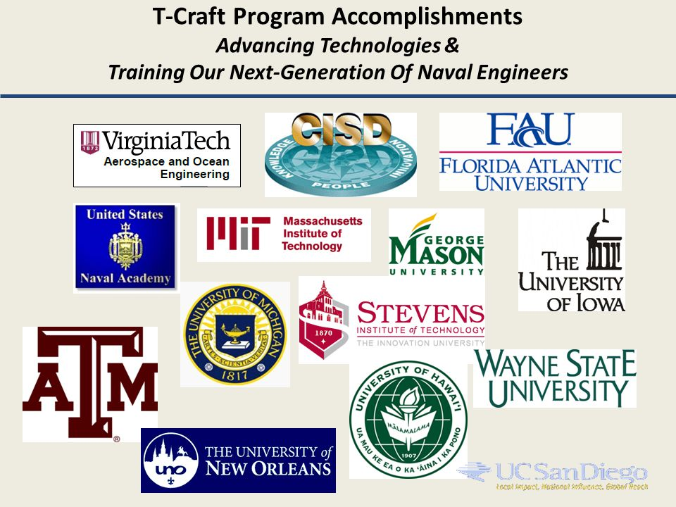 T-Craft Program Accomplishments Advancing Technologies & Training Our Next-Generation Of Naval Engineers