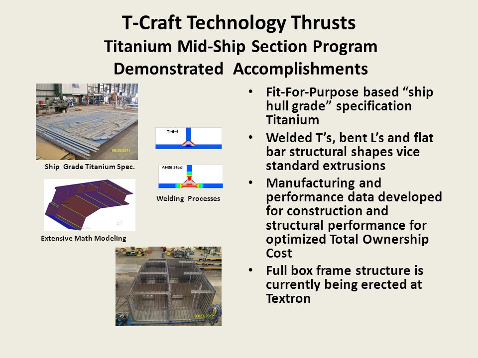 T-Craft Technology Thrusts Titanium Mid-Ship Section Program Demonstrated Accomplishments