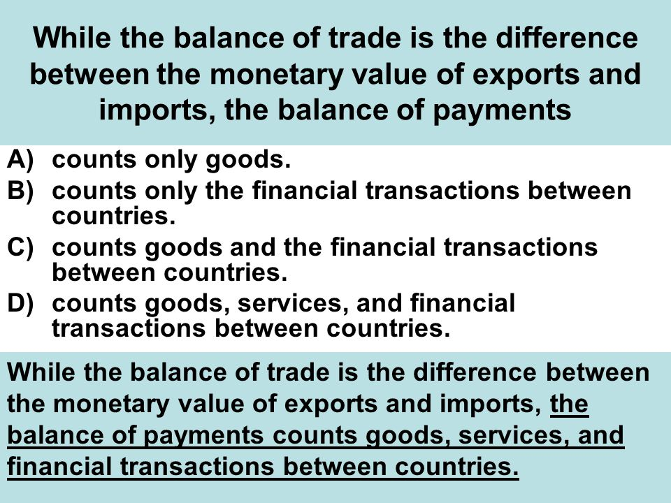 While the balance of trade is the difference between the monetary value of exports and imports, the balance of payments