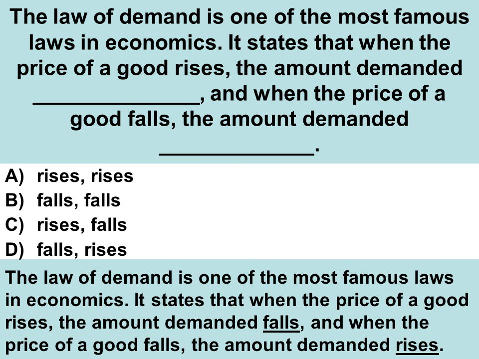 The law of demand is one of the most famous laws in economics