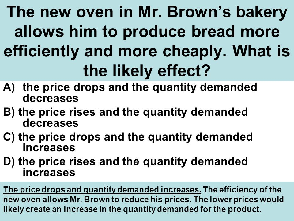The new oven in Mr. Brown's bakery allows him to produce bread more efficiently and more cheaply. What is the likely effect