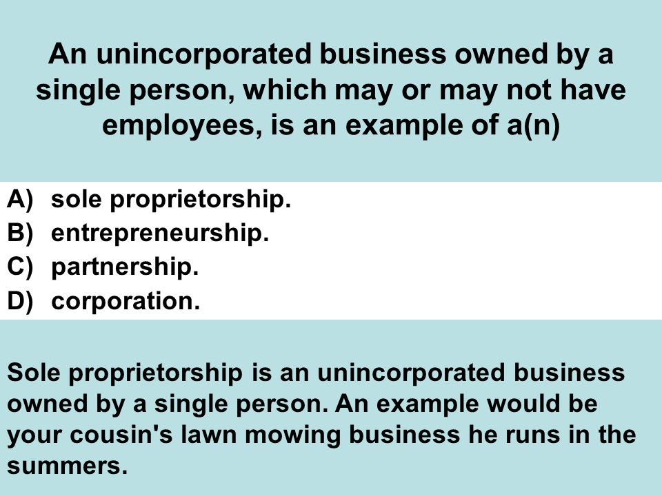 An unincorporated business owned by a single person, which may or may not have employees, is an example of a(n)