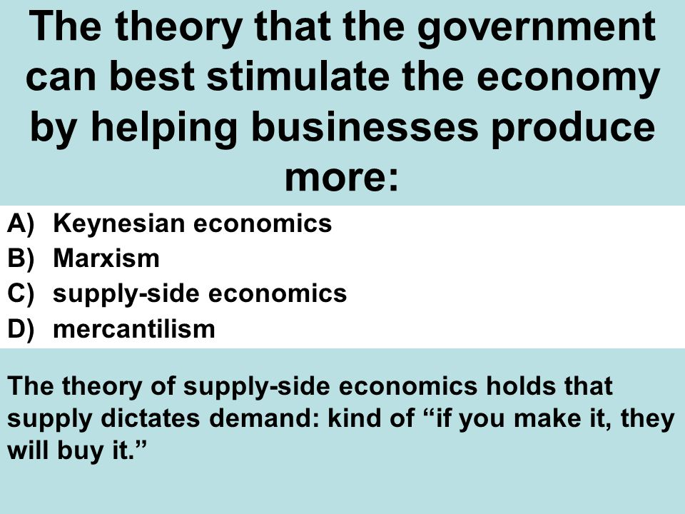 The theory that the government can best stimulate the economy by helping businesses produce more: