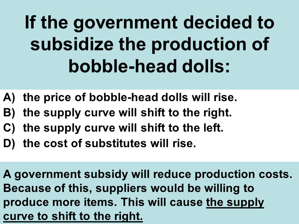 If the government decided to subsidize the production of bobble-head dolls: