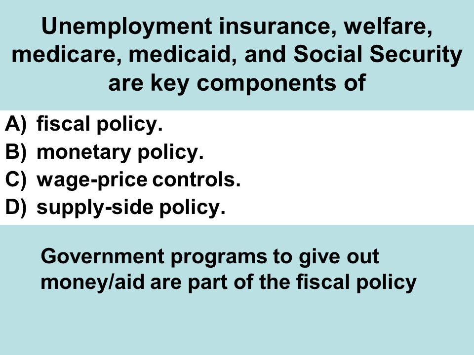 Unemployment insurance, welfare, medicare, medicaid, and Social Security are key components of