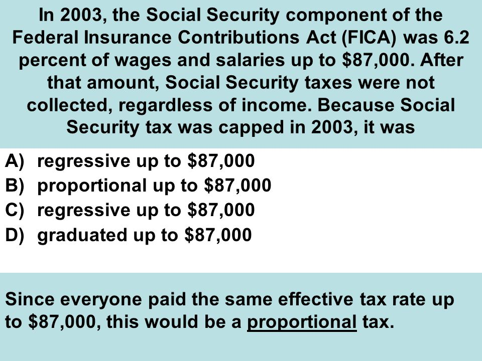 In 2003, the Social Security component of the Federal Insurance Contributions Act (FICA) was 6.2 percent of wages and salaries up to $87,000. After that amount, Social Security taxes were not collected, regardless of income. Because Social Security tax was capped in 2003, it was