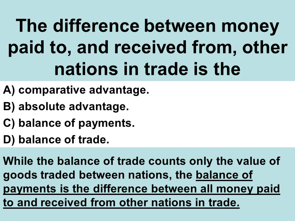 The difference between money paid to, and received from, other nations in trade is the