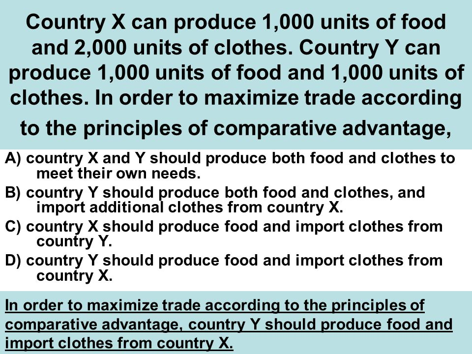 Country X can produce 1,000 units of food and 2,000 units of clothes