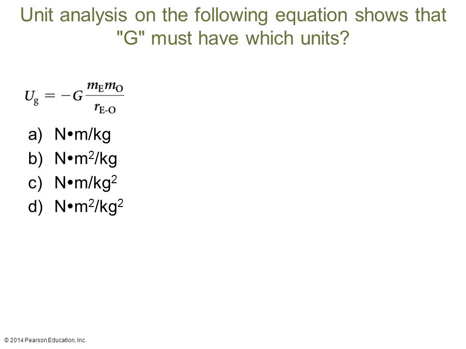 Unit analysis on the following equation shows that G must have which units