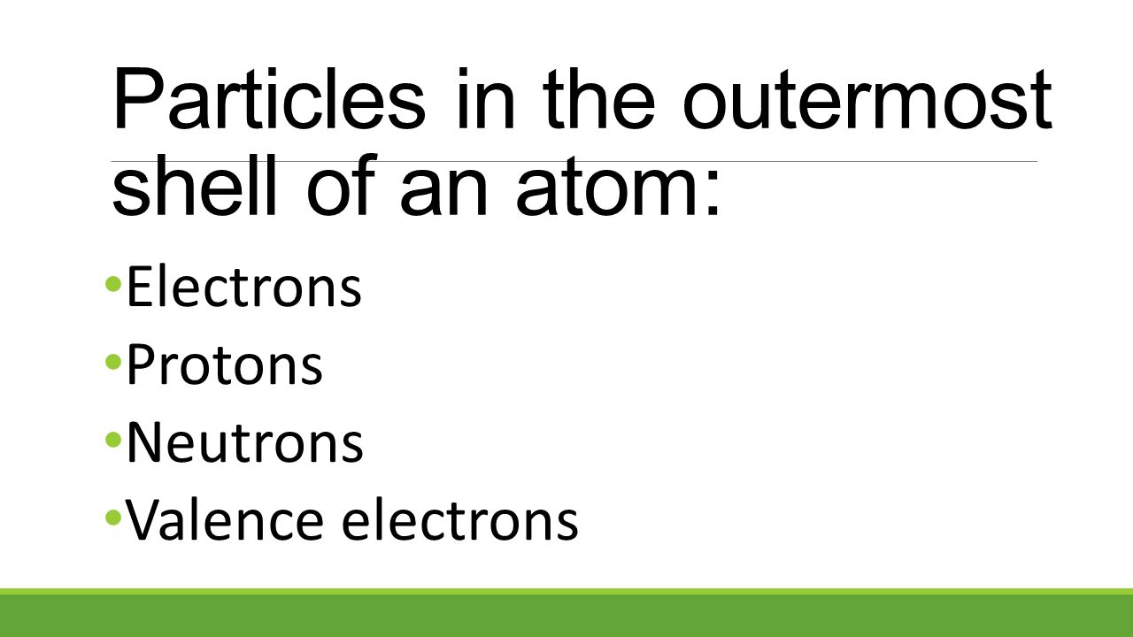 Particles in the outermost shell of an atom: