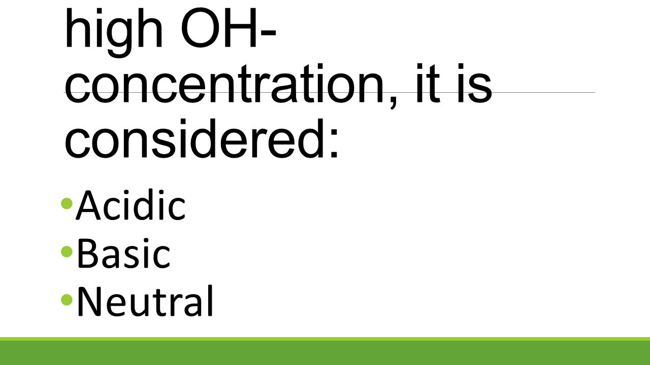 When a solution has a high OH- concentration, it is considered: