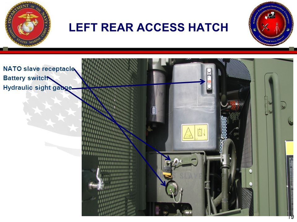 left rear access hatch NATO slave receptacle Battery switch