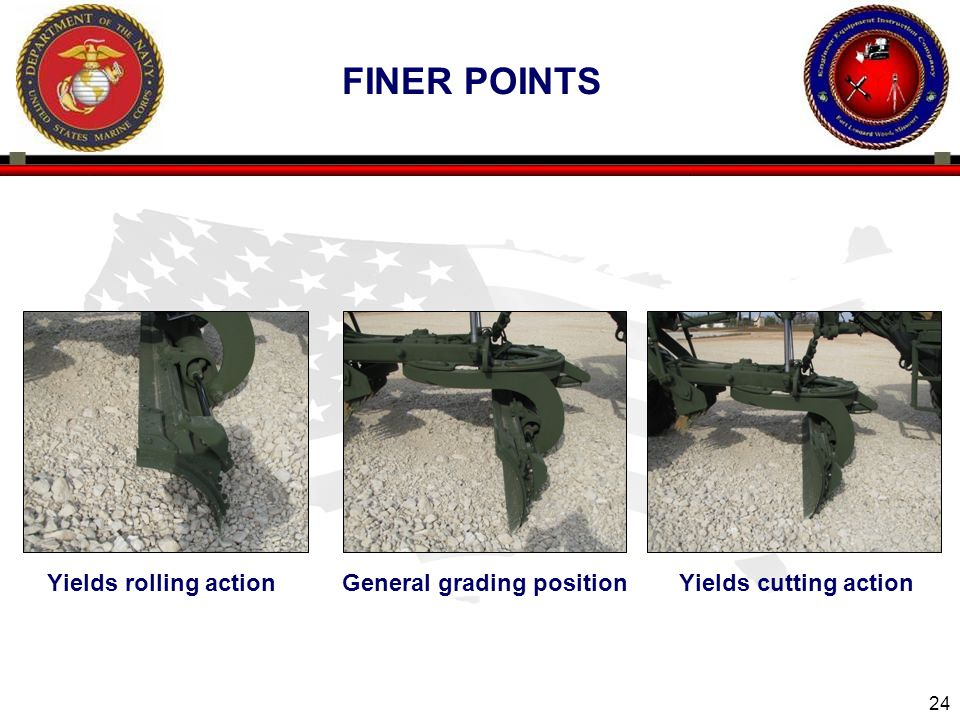 Finer Points Yields rolling action General grading position Yields cutting action