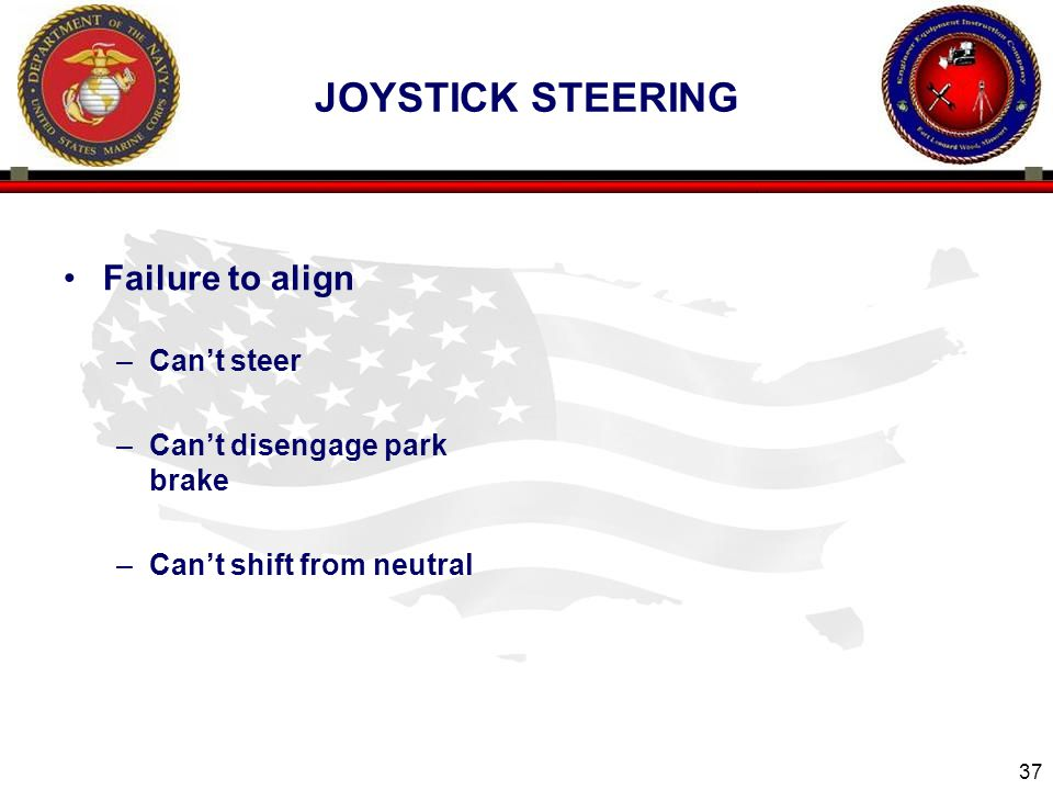 Joystick steering Failure to align Can't steer