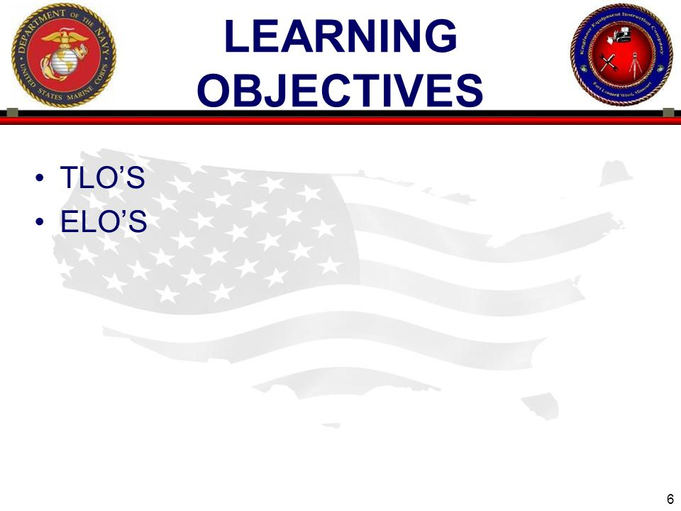 Learning objectives TLO'S ELO'S