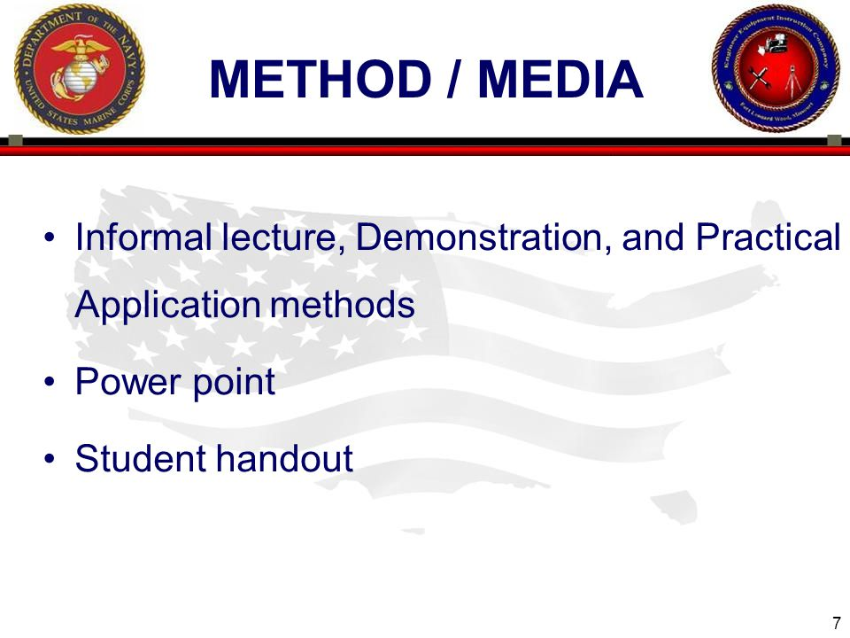 Method / media Informal lecture, Demonstration, and Practical Application methods.