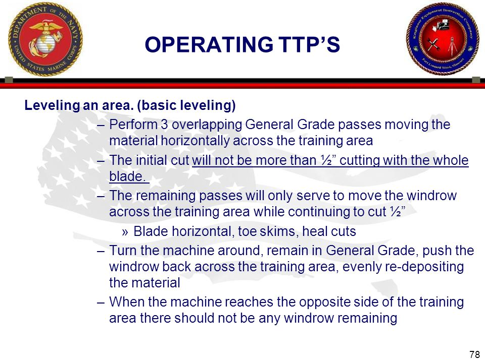 Operating ttp's Leveling an area. (basic leveling)