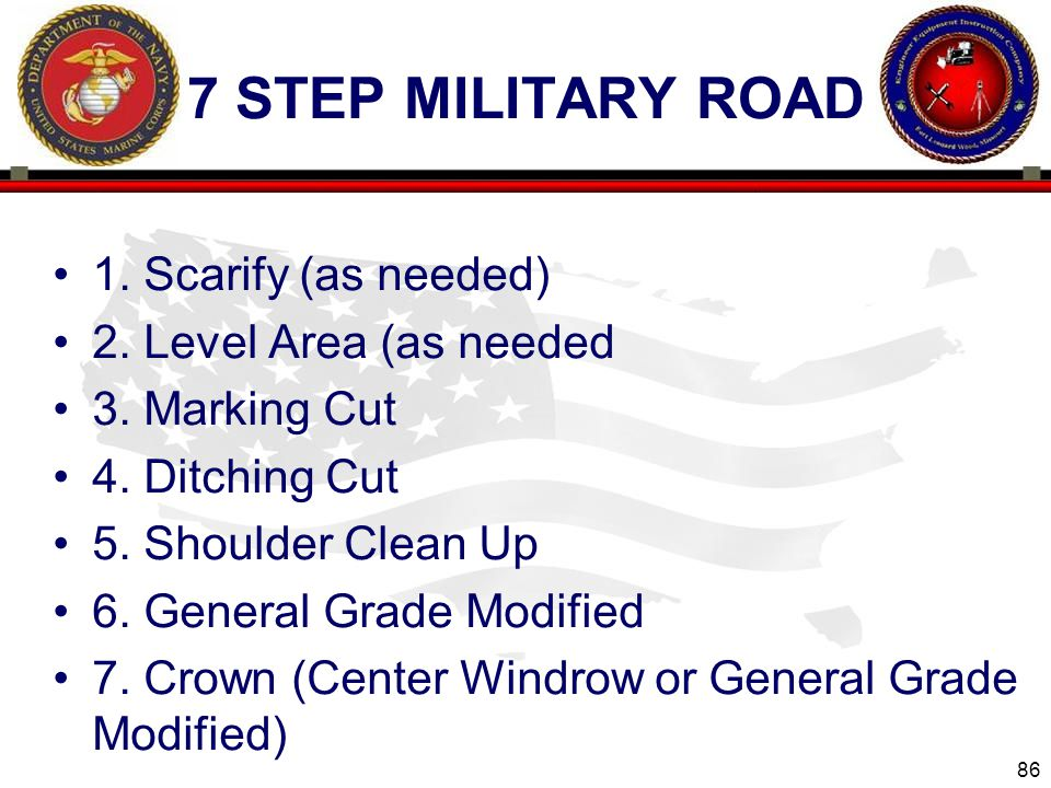 7 step military road 1. Scarify (as needed) 2. Level Area (as needed