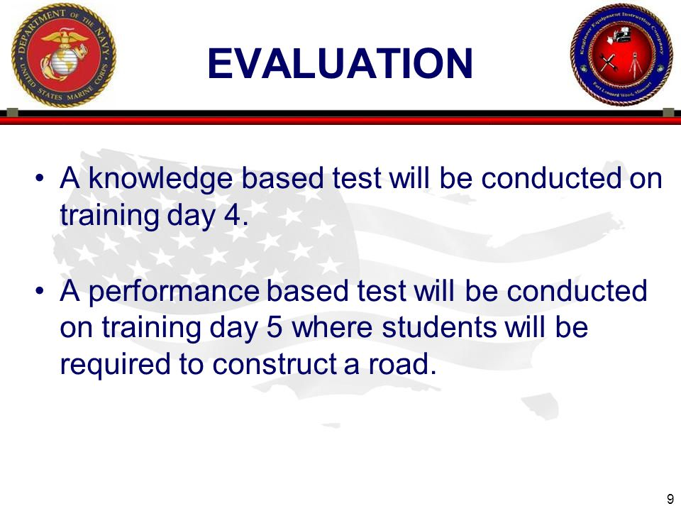 evaluation A knowledge based test will be conducted on training day 4.