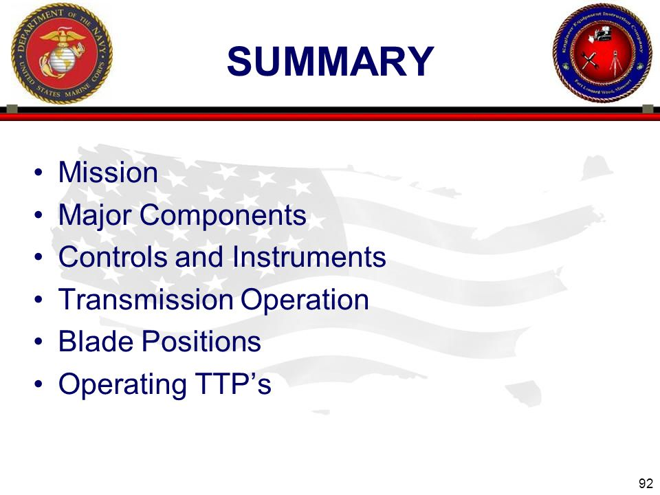 SUMMARY Mission Major Components Controls and Instruments