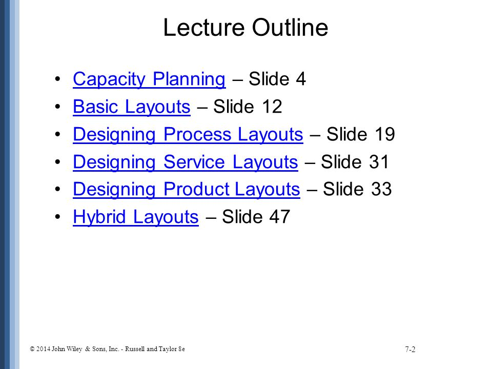 Lecture Outline Capacity Planning – Slide 4 Basic Layouts – Slide 12
