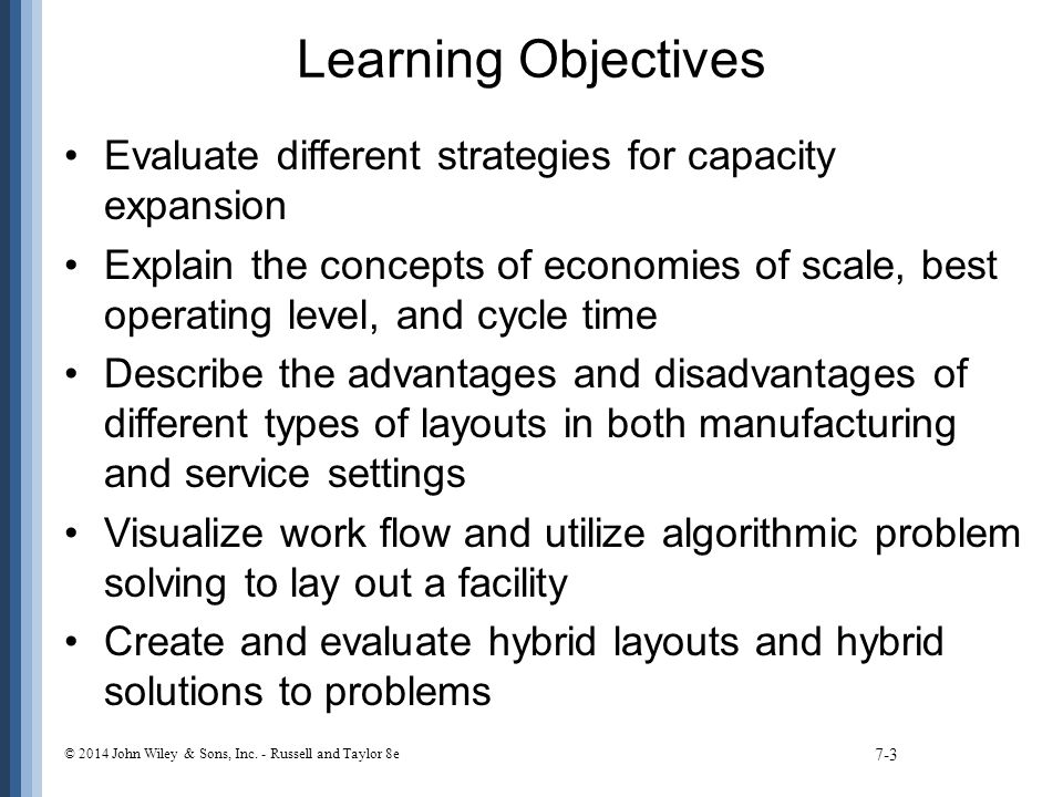 Learning Objectives Evaluate different strategies for capacity expansion.