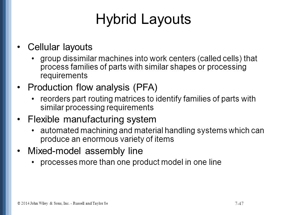 Hybrid Layouts Cellular layouts Production flow analysis (PFA)