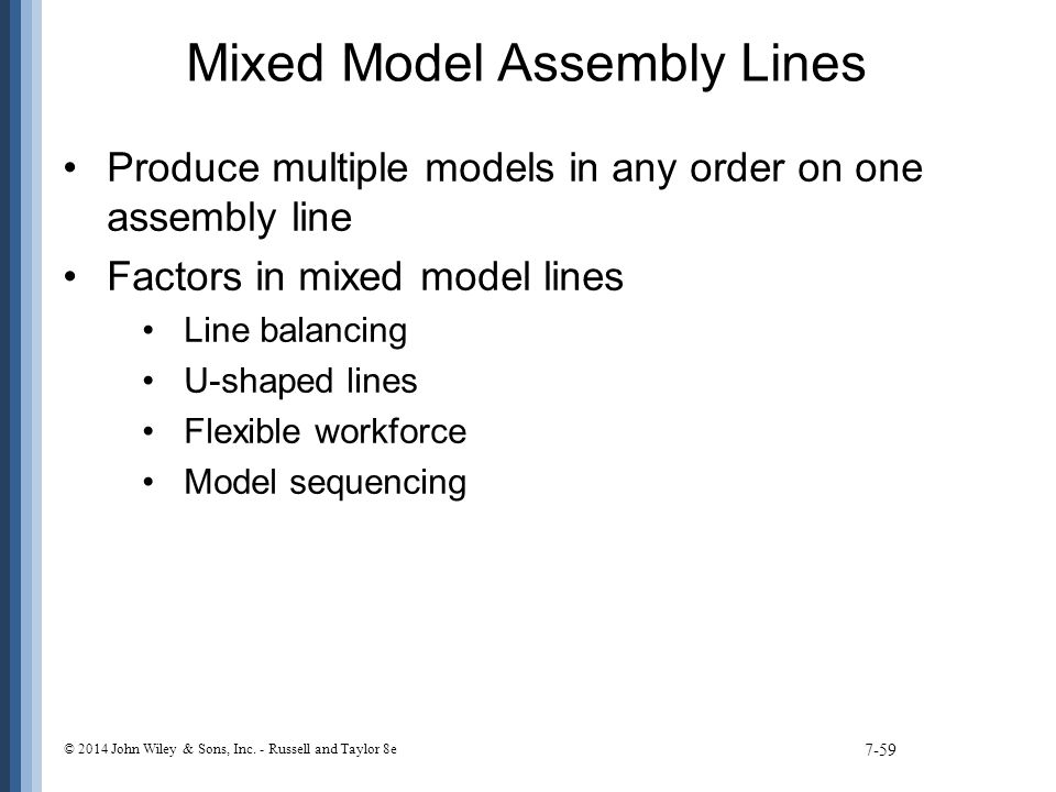 Mixed Model Assembly Lines