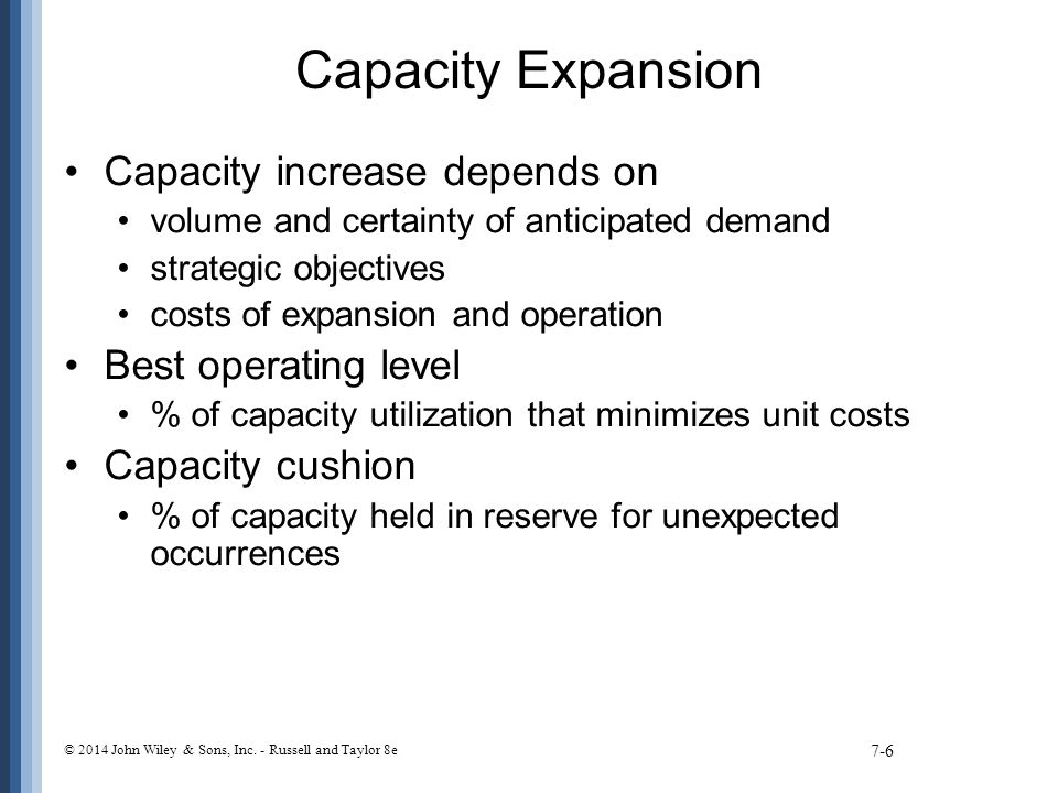 Capacity Expansion Capacity increase depends on Best operating level