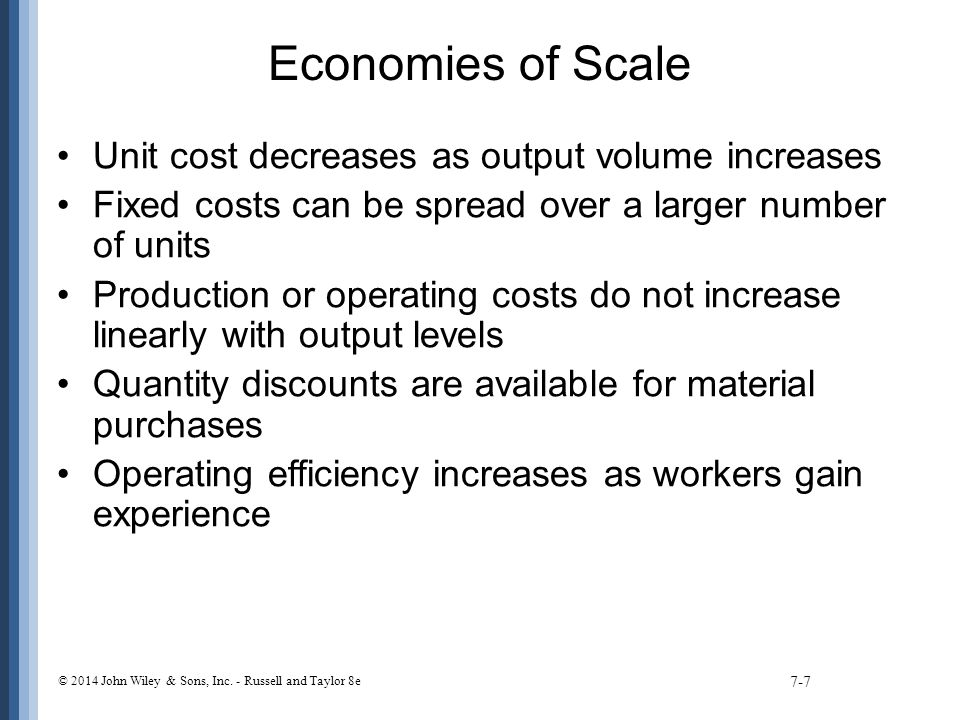 Economies of Scale Unit cost decreases as output volume increases