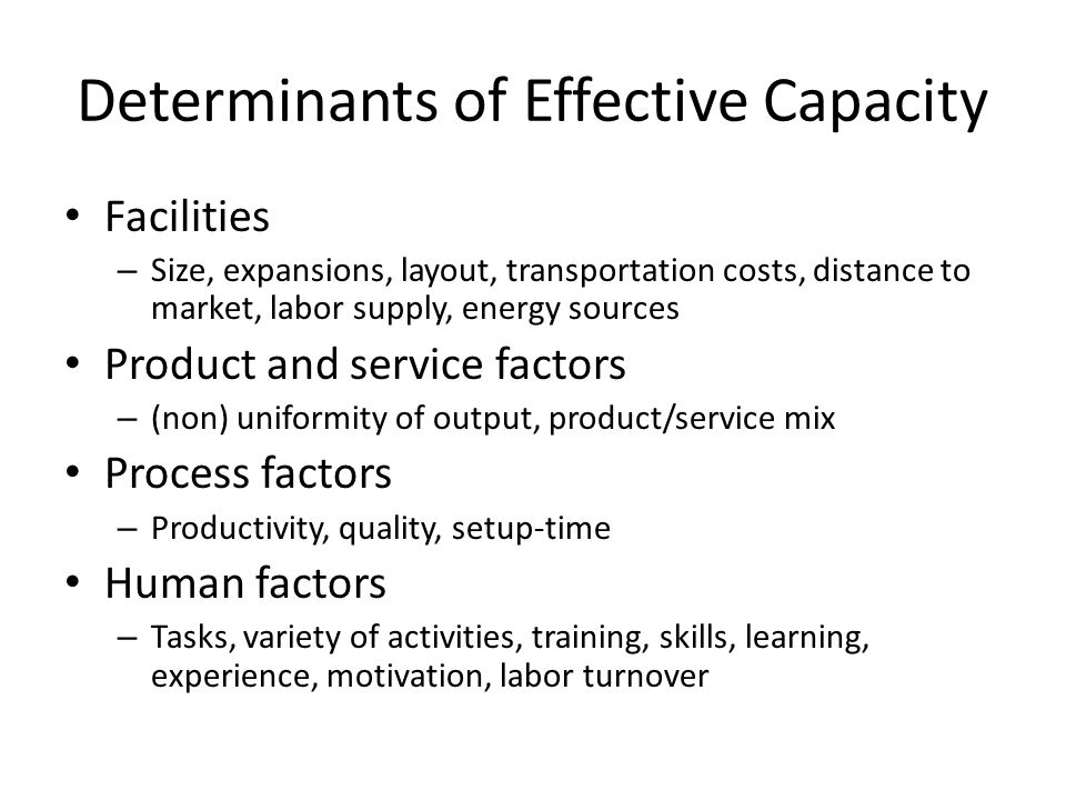Determinants of Effective Capacity