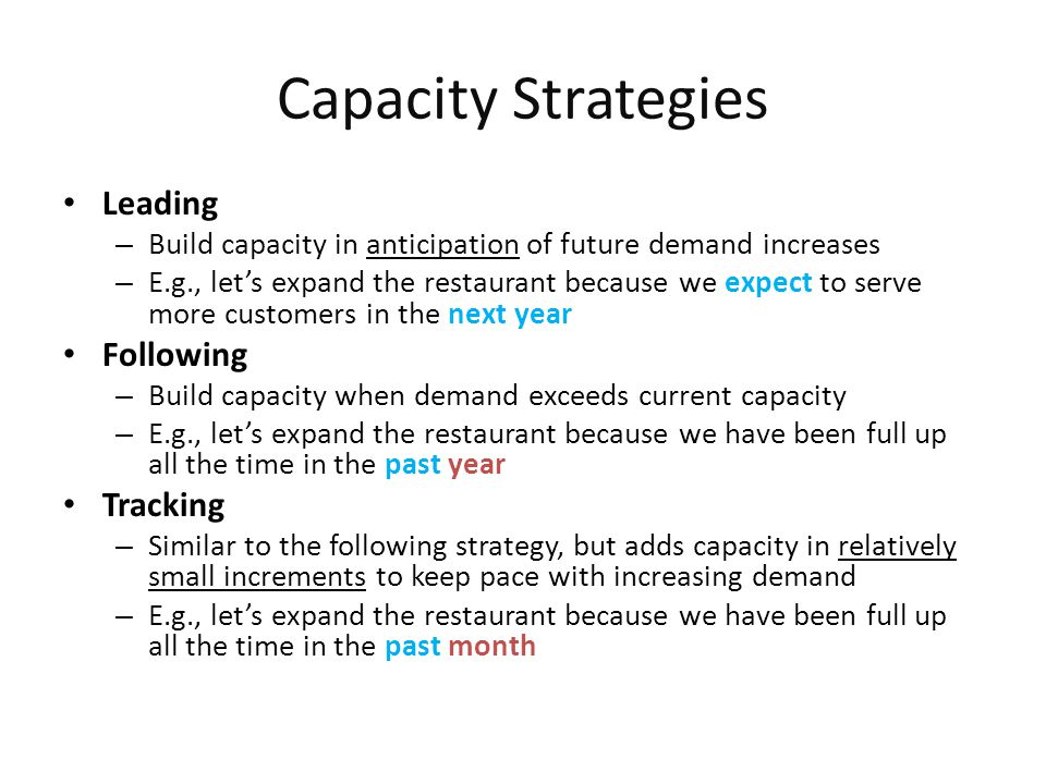 Capacity Strategies Leading Following Tracking