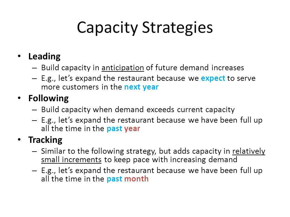 Capacity Strategies Leading Following Tracking