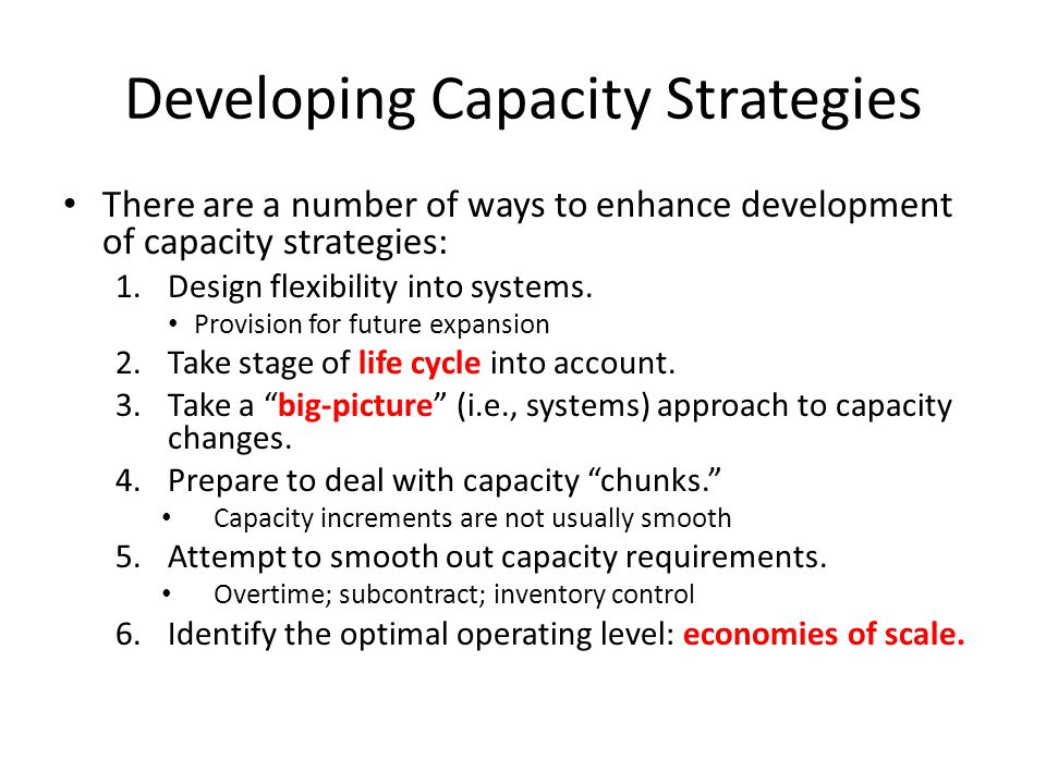 Developing Capacity Strategies