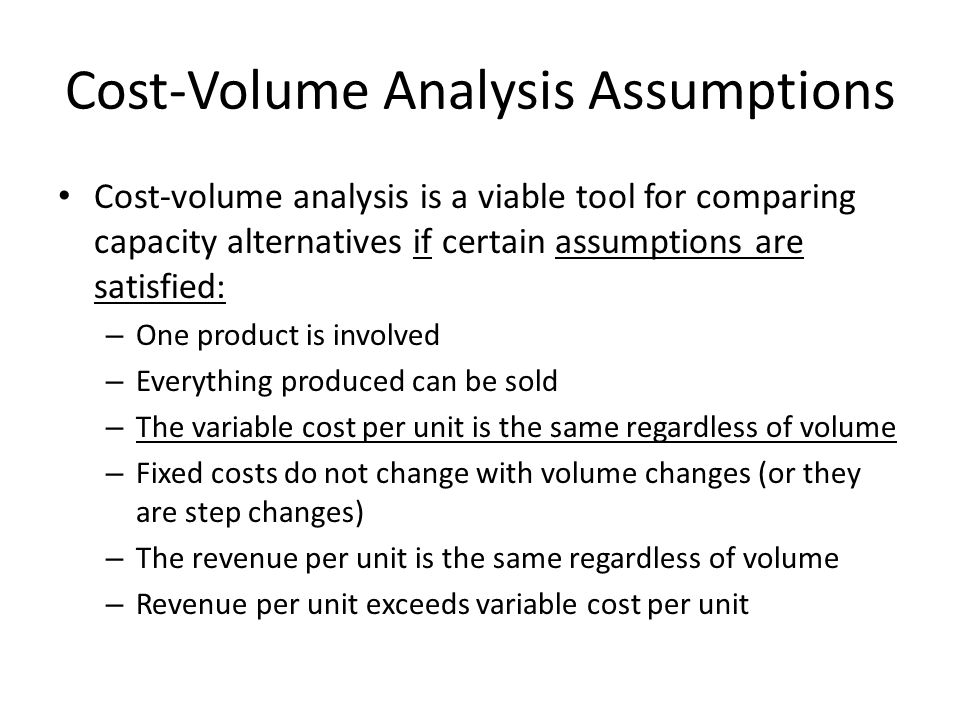 Cost-Volume Analysis Assumptions
