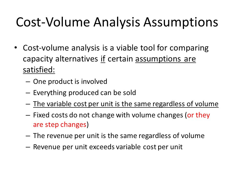 Cost-Volume Analysis Assumptions